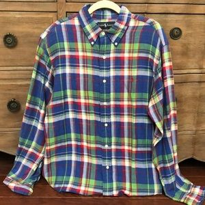 Ralph Lauren cobalt blue plaid shirt